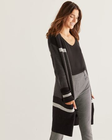 Colorblock Long Open Cardigan with Pockets