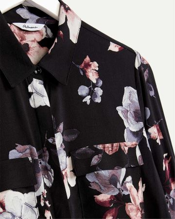 Long Sleeve Printed Shirt with Pockets