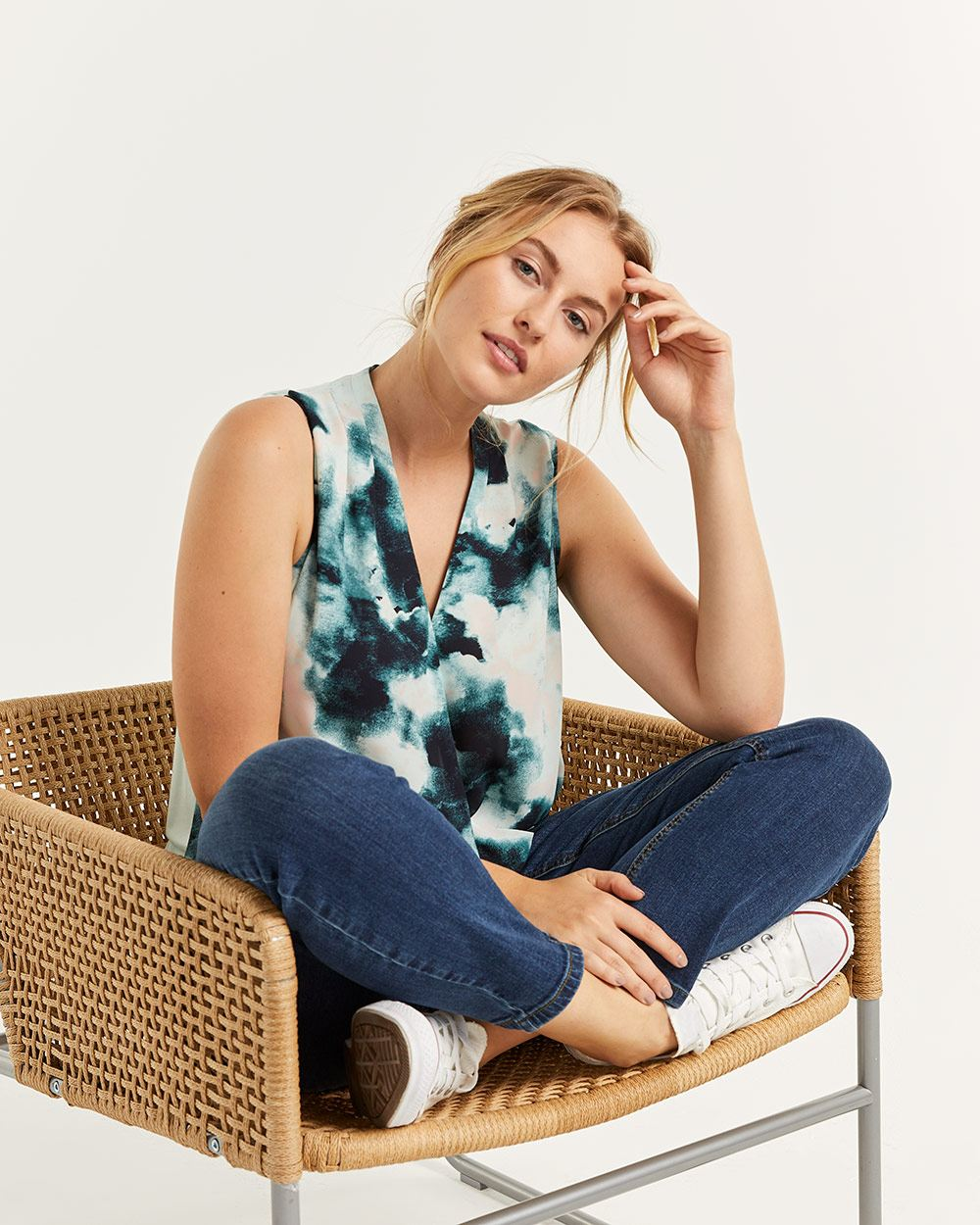 Mix Media Sleeveless Printed Wrap Top