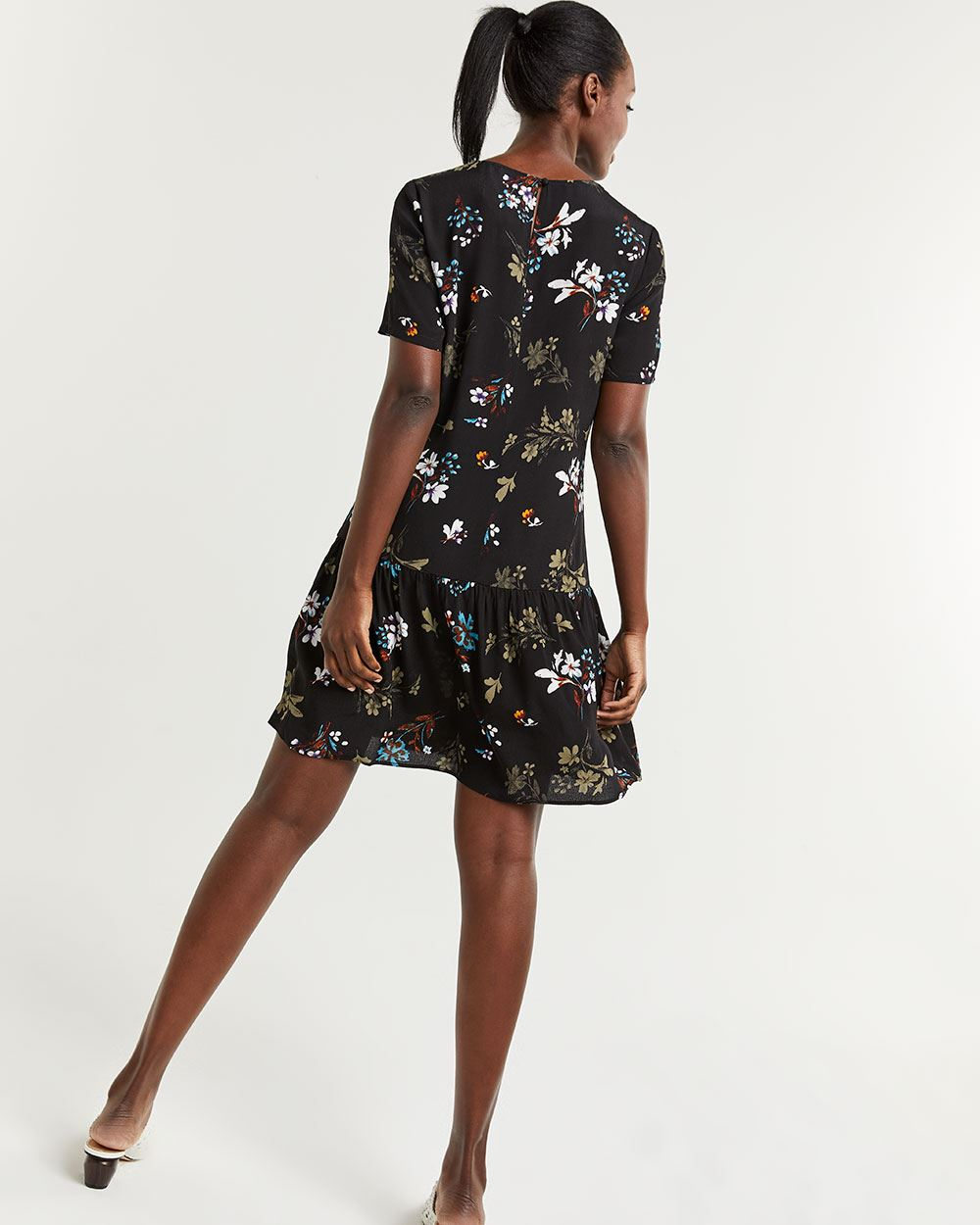 Shift Printed Dress with Drop Flounce