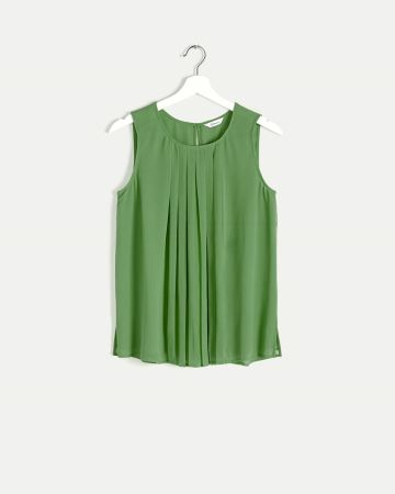 Sleeveless Pleated Front Blouse