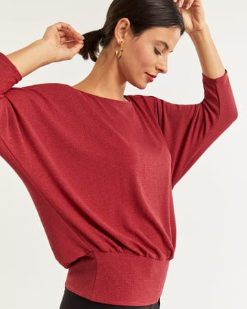 3/4 Dolman Sleeve Shimmer Top