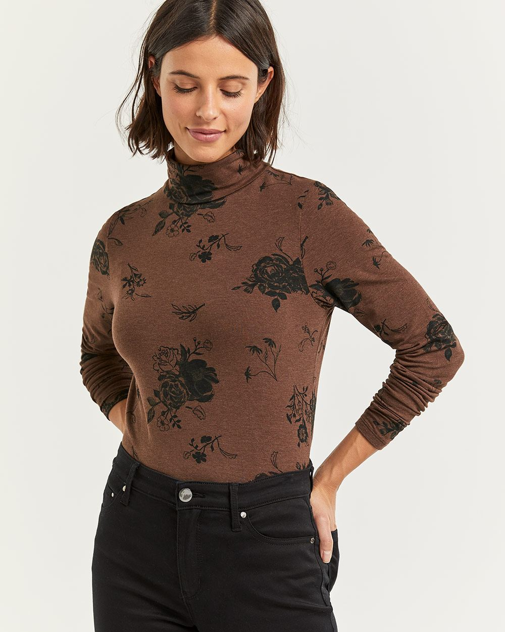 Printed Long Sleeve Turtleneck Tee