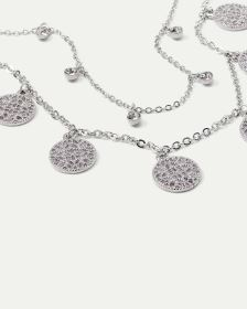 2-Row Necklace with Filigree Coin and Stones