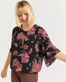 Floral Print Blouse with Elbow Sleeves