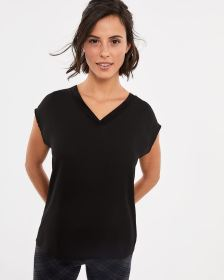 Mix Media V-neck Top