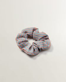 Pink and Blue Striped Scrunchie