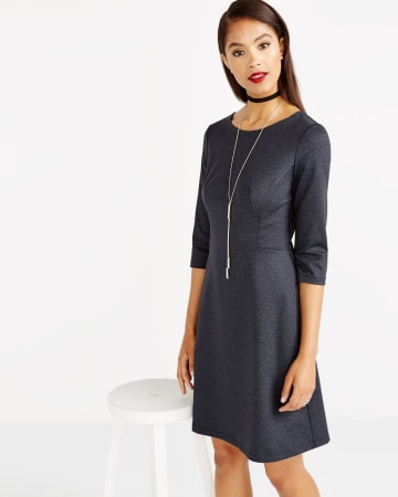 ¾ Sleeve Solid Dress
