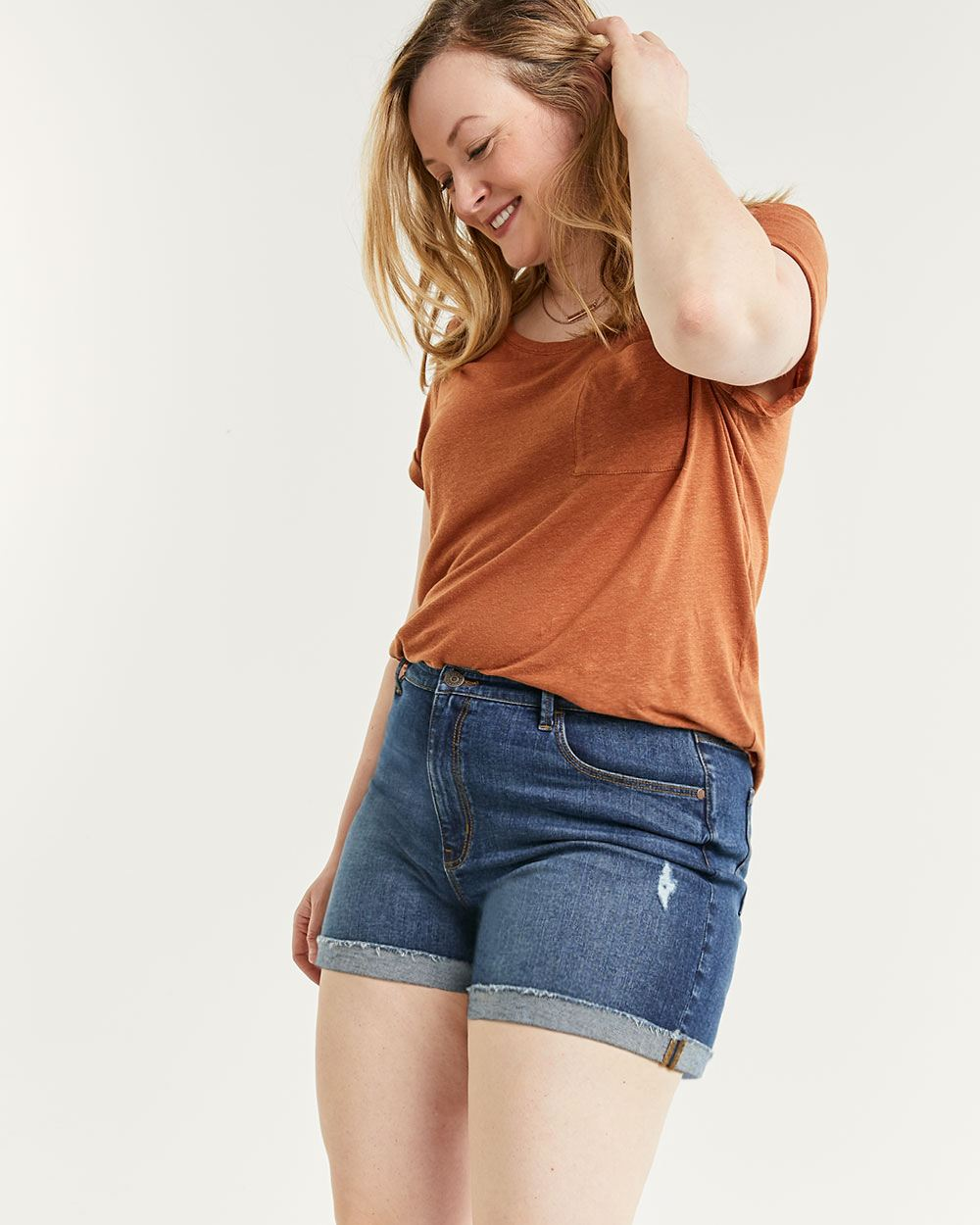 High Rise Denim Shorts with Rolled Cuffs and Rip Details