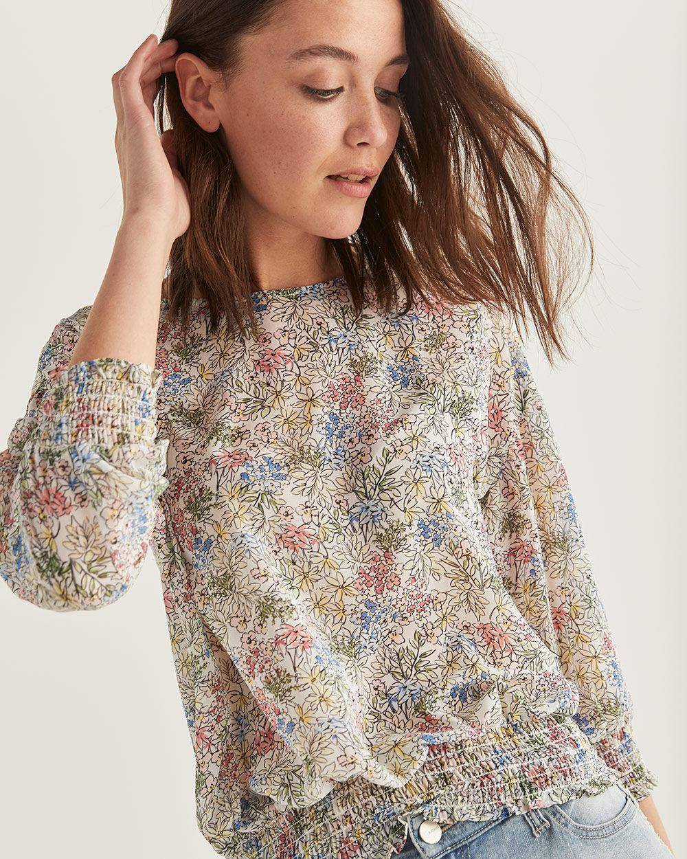 Back Buttons Floral Print Blouse
