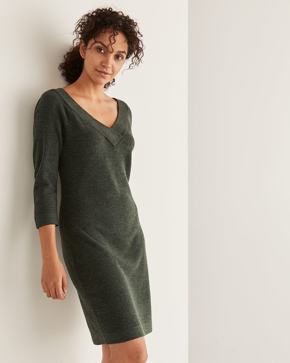 Bodycon V-Neck Sweater Dress