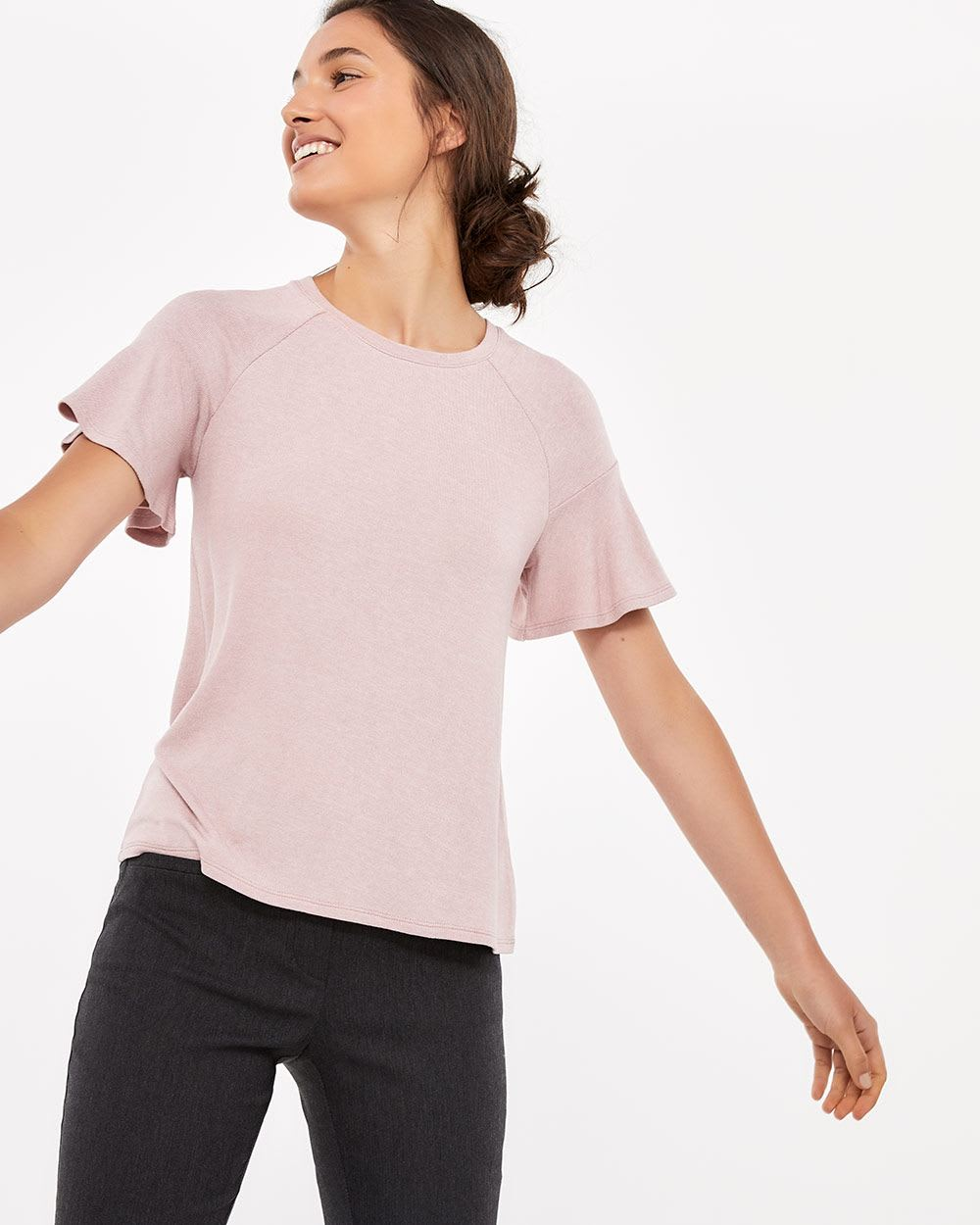 Short Flutter Sleeve Top