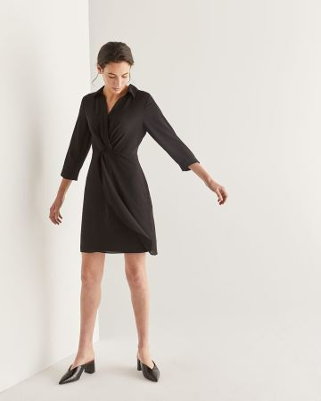 Front Twist Black Shift Dress