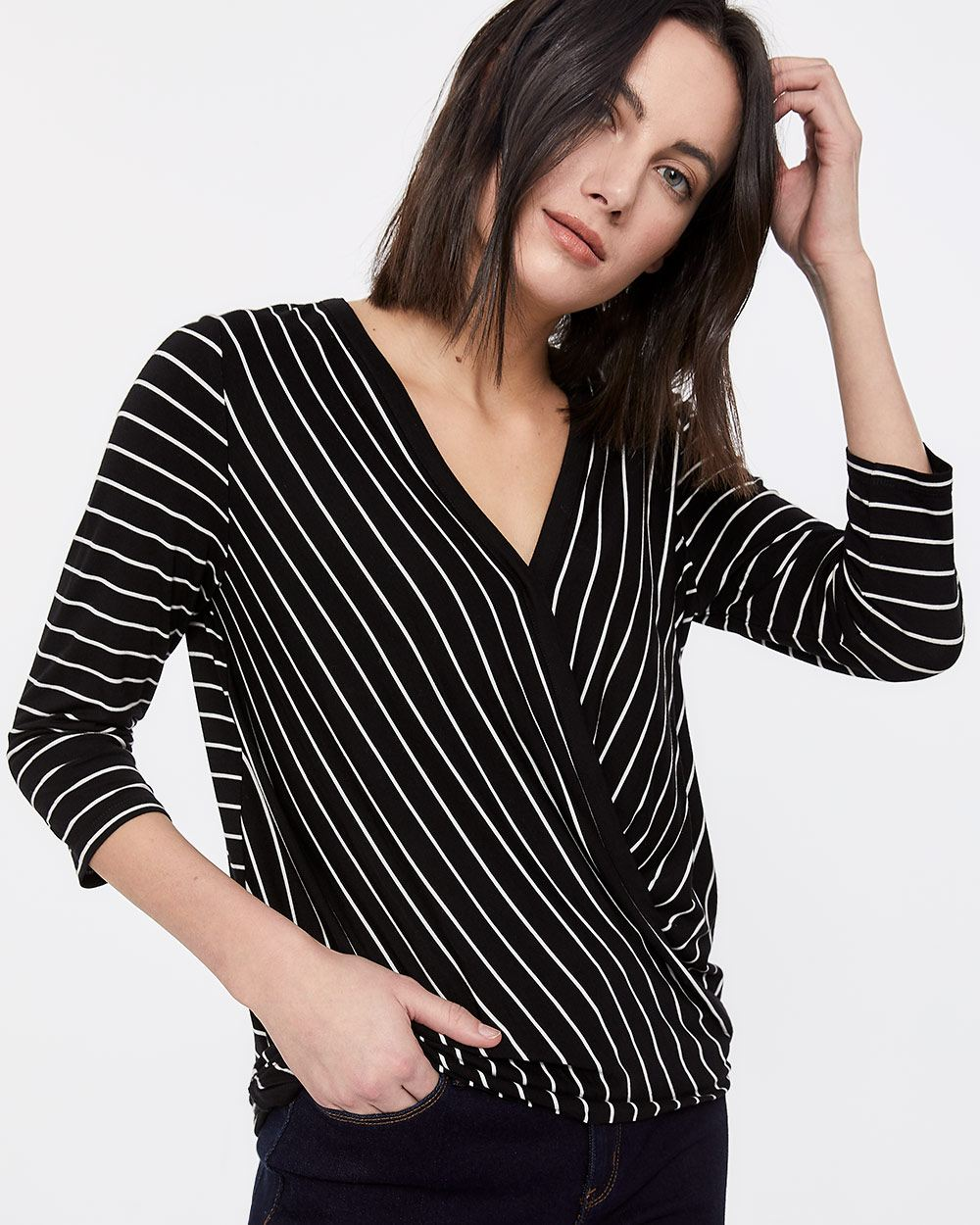 3/4 Sleeve Wrap Top
