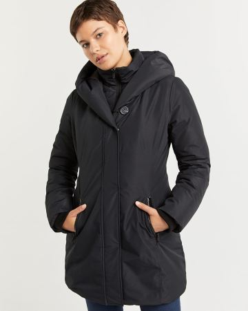 Hooded Winter Coat with Quilted Bib