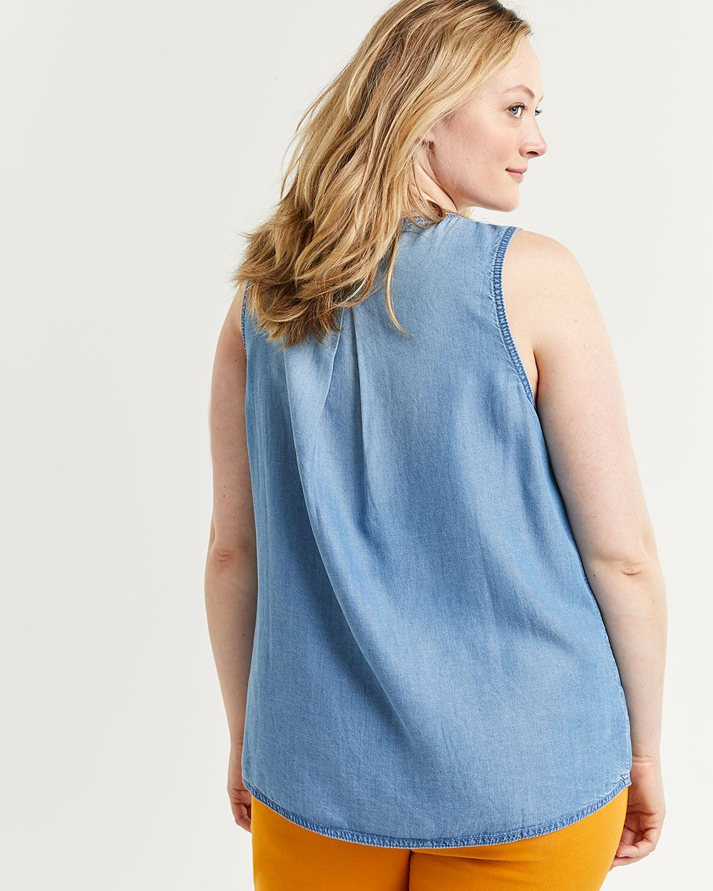 Sleeveless Tencel Blouse with Pockets