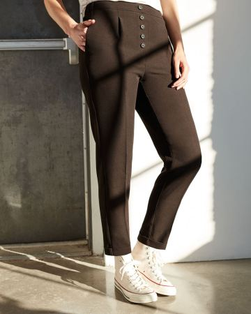 Tapered Pull On Pants with Decorative Front Buttons