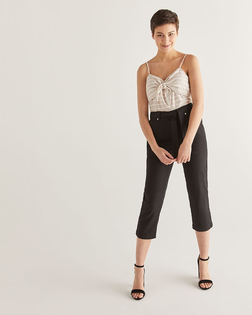 Linen-Blend Cropped Pants with Sash - Petite