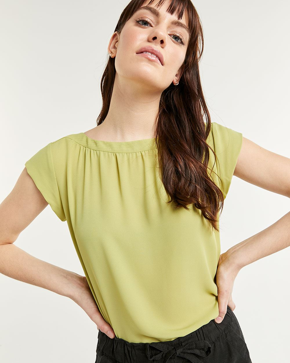Boat Neck Cap Sleeve Blouse