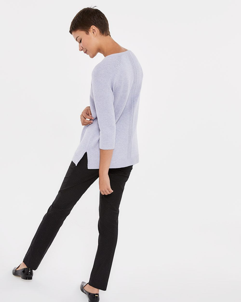 Side Slits ¾ Sleeve Sweater
