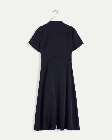 Short Sleeve Midi Dress with Mao Collar