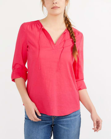 Linen Blend Blouse with Drawstrings