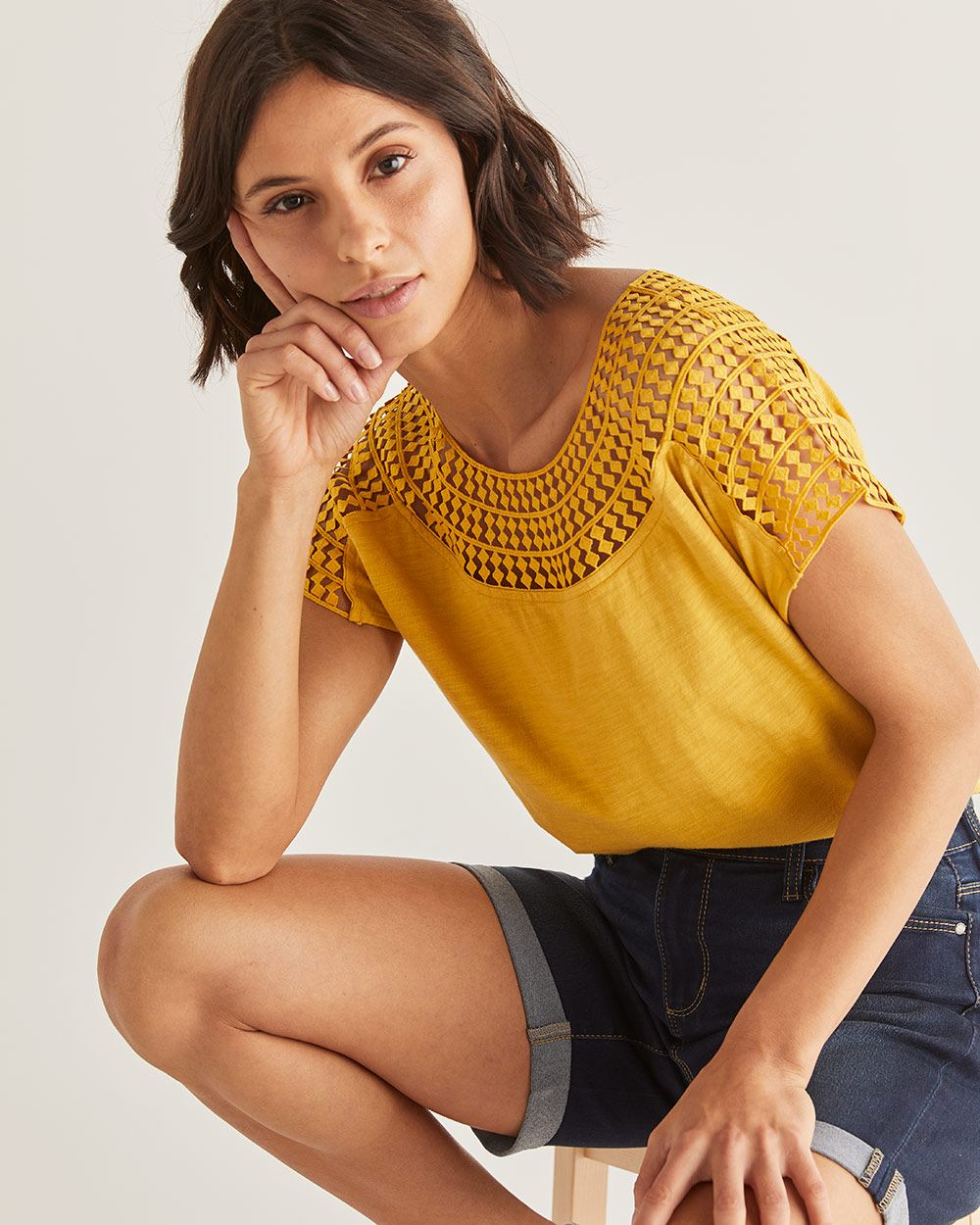 Cotton-Blend Crochet Insertion Top