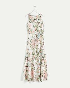 Sleeveless Printed Maxi Dress with Drawstring