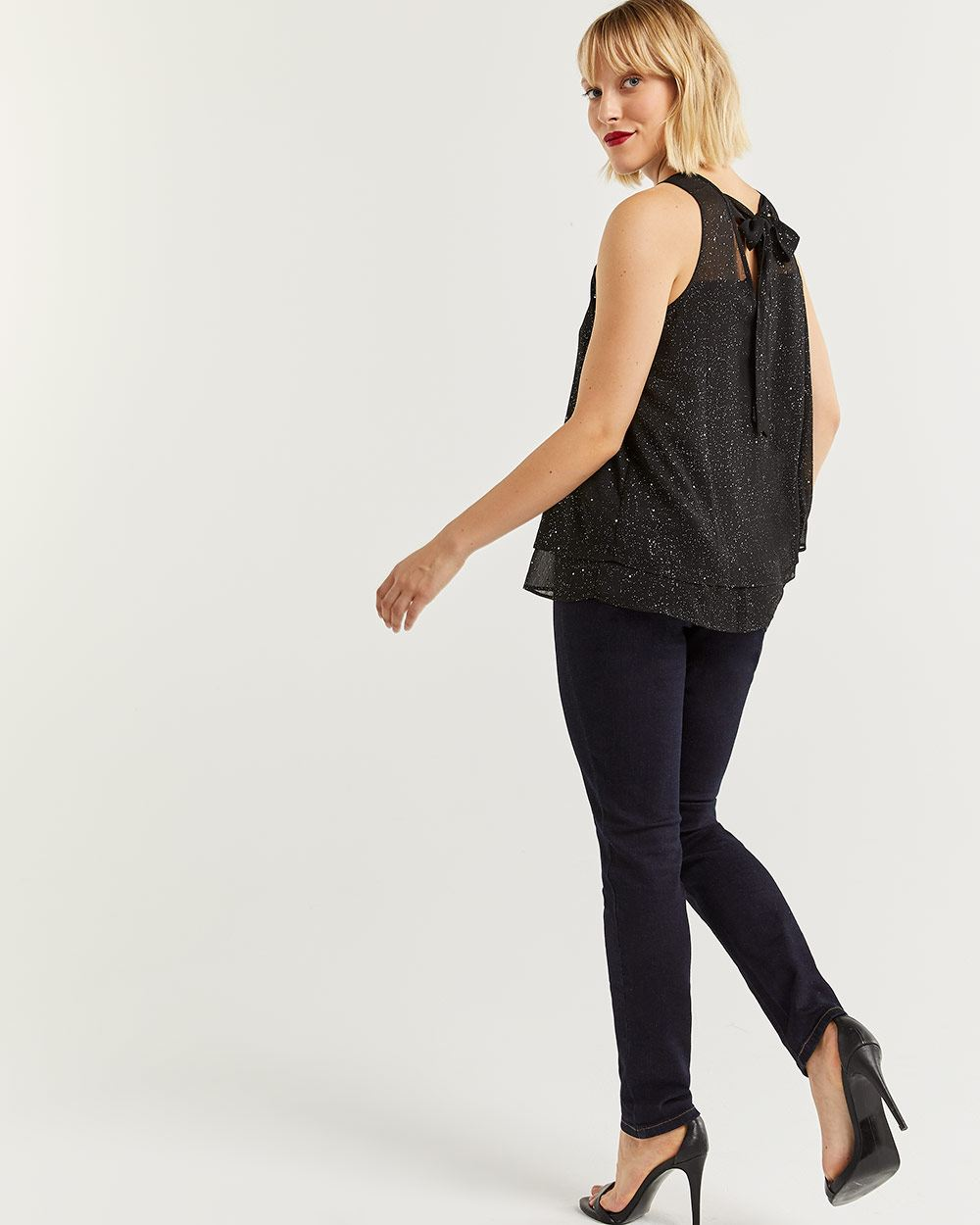 Sleeveless Glitter Blouse with Back Bow