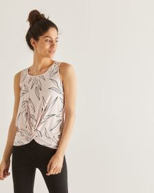 Printed Front Twist Tank Top - Petite