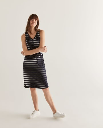 Striped Shift Dress with Drawcord