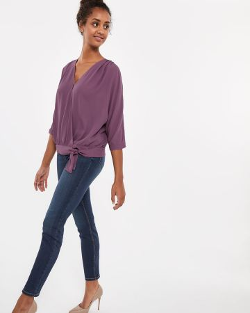 ¾ Sleeve Wrap Blouse