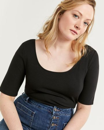 Elbow Sleeve Ribbed Tee