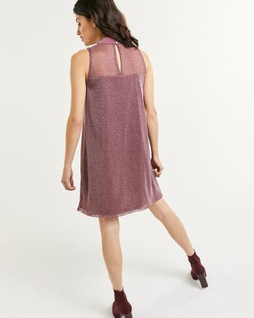 Sleeveless Mock Neck Shimmer Mesh Swing Dress