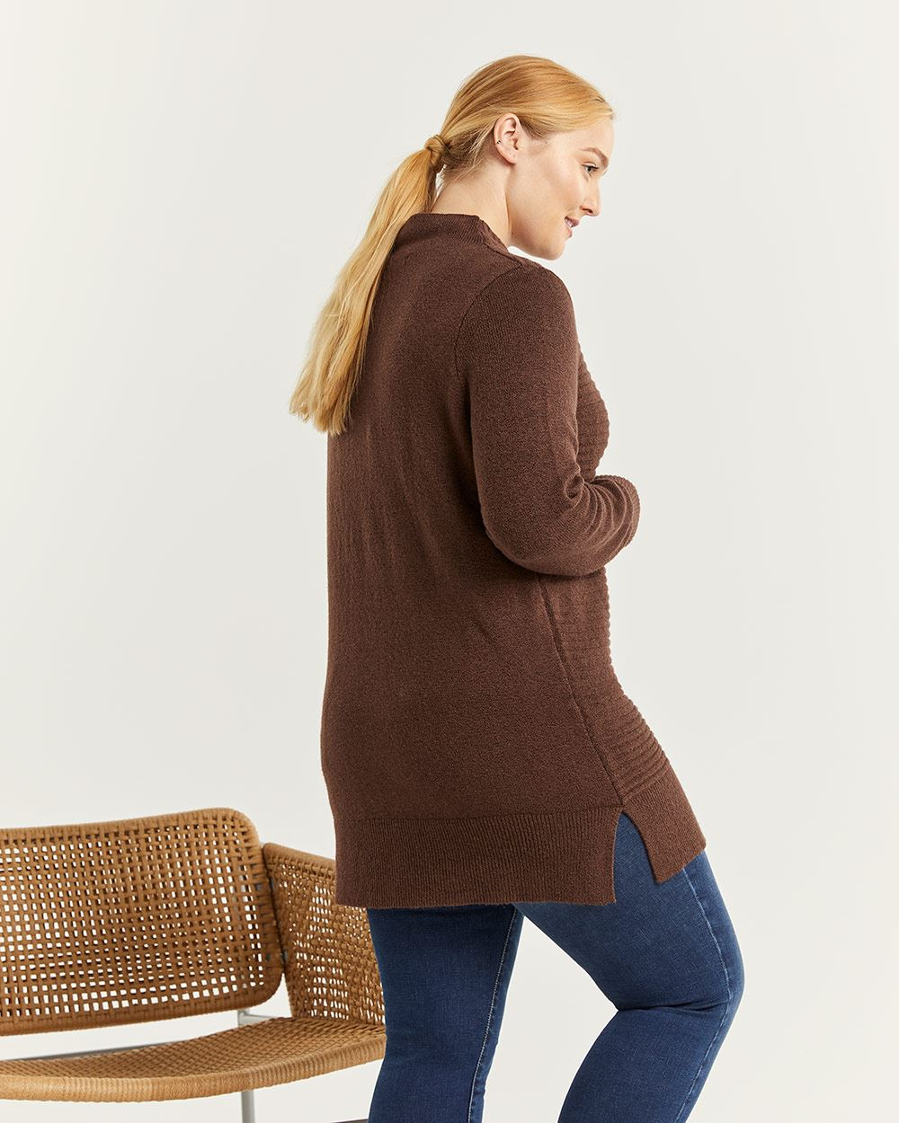 Funnel Neck Ribbed Tunic Sweater