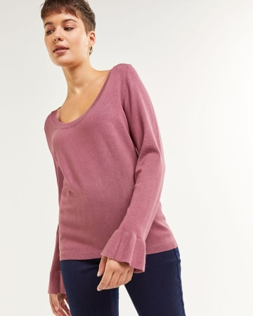Long Sleeve Scoop Neck Sweater with Ruffle Cuffs