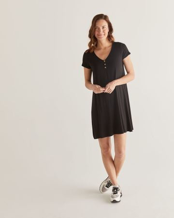 Black Swing Dress with Buttons