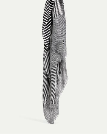 Black and White Striped Oblong Scarf