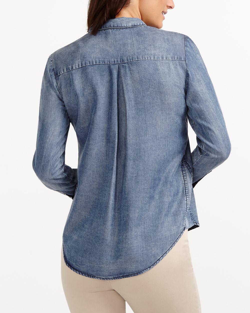 6645bfded7f Denim Long Sleeve Shirt Womens - Nils Stucki Kieferorthopäde