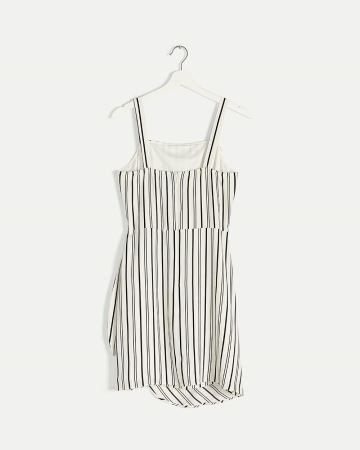 Front Wrap Knotted Striped Dress