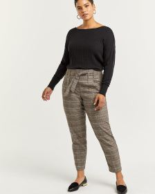 Glen Plaid Slim Pull On Paperbag Pants - Tall