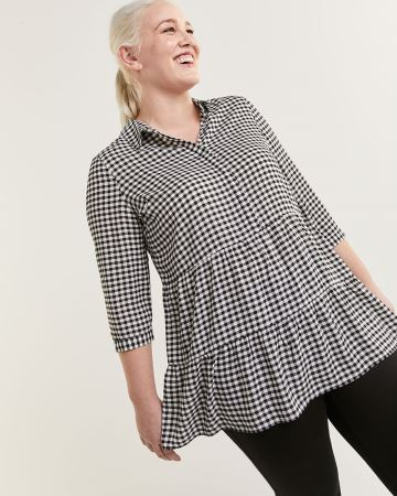 3/4 Sleeve Shirt Collar Tiered Printed Tunic