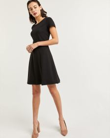 Short Sleeve Fit & Flare Dress with Faux Leather Trim