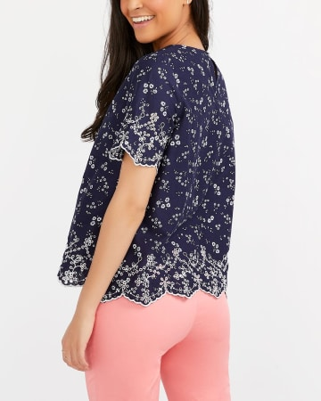Short-Sleeve Blouse with Embroidery