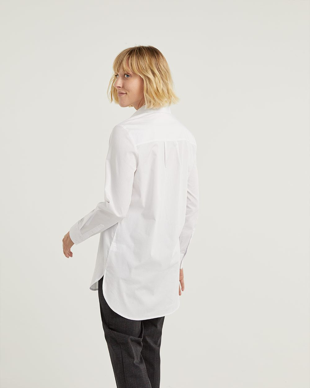 Long Sleeve Poplin High-Low Tunic