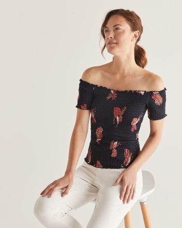 Floral Print Off-The-Shoulder Smocking Top
