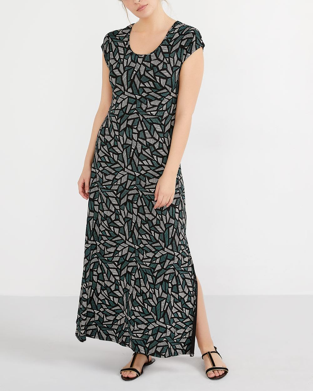 bac22b4ed1d Printed Maxi Dress with Cap Sleeves