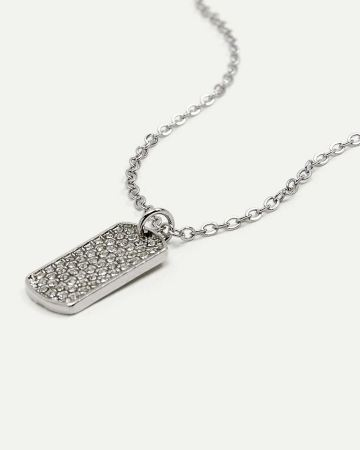 Tag Pendant With CZ Crystals