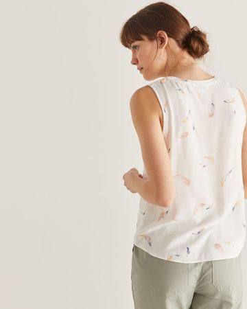 Sleeveless Printed Blouse with Folded Detail - Petite