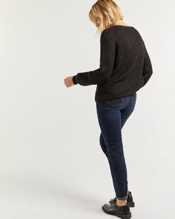 V-Neck Sweater with Metallic Thread